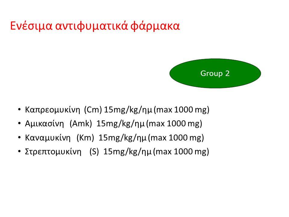 Ενέσιμα αντιφυματικά φάρμακα Καπρεομυκίνη (Cm) 15mg/kg/ημ (max 1000 mg) Αμικασίνη (Amk) 15mg/kg/ημ (max 1000 mg) Καναμυκίνη (Km) 15mg/kg/ημ (max 1000