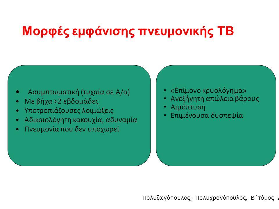 Μορφές εμφάνισης πνευμονικής ΤΒ Ασυμπτωματική (τυχαία σε Α/α) Με βήχα >2 εβδομάδες Υποτροπιάζουσες λοιμώξεις Αδικαιολόγητη κακουχία, αδυναμία Πνευμονία που δεν υποχωρεί «Επίμονο κρυολόγημα» Ανεξήγητη απώλεια βάρους Αιμόπτυση Επιμένουσα δυσπεψία Πολυζωγόπουλος, Πολυχρονόπουλος, Β΄τόμος 2005