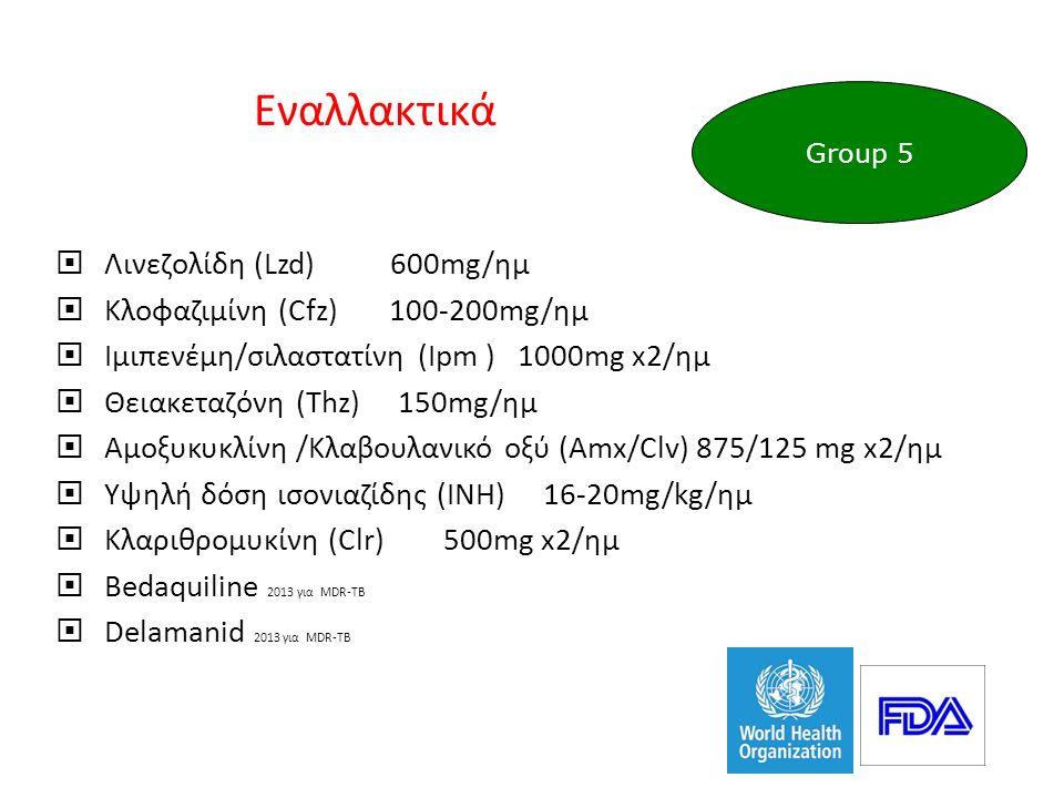 Εναλλακτικά  Λινεζολίδη (Lzd) 600mg/ημ  Κλοφαζιμίνη (Cfz) 100-200mg/ημ  Ιμιπενέμη/σιλαστατίνη (Ipm ) 1000mg x2/ημ  Θειακεταζόνη (Thz) 150mg/ημ  Αμοξυκυκλίνη /Κλαβουλανικό οξύ (Amx/Clv) 875/125 mg x2/ημ  Υψηλή δόση ισονιαζίδης (INH) 16-20mg/kg/ημ  Κλαριθρομυκίνη (Clr) 500mg x2/ημ  Bedaquiline 2013 για MDR-TB  Delamanid 2013 για MDR-TB Group 5