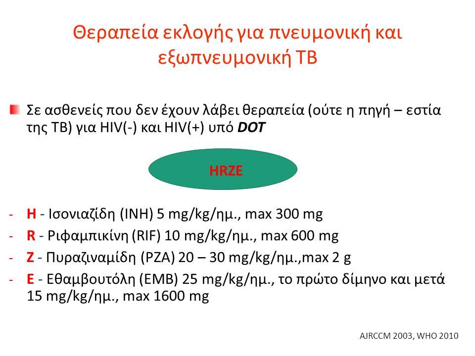 Θεραπεία εκλογής για πνευμονική και εξωπνευμονική ΤΒ Σε ασθενείς που δεν έχουν λάβει θεραπεία (ούτε η πηγή – εστία της ΤΒ) για HIV(-) και HIV(+) υπό DOT HRZE - Η - Ισονιαζίδη (INH) 5 mg/kg/ημ., max 300 mg - R - Ριφαμπικίνη (RIF) 10 mg/kg/ημ., max 600 mg - Z - Πυραζιναμίδη (PZA) 20 – 30 mg/kg/ημ.,max 2 g - Ε - Εθαμβουτόλη (EMB) 25 mg/kg/ημ., το πρώτο δίμηνο και μετά 15 mg/kg/ημ., max 1600 mg AJRCCM 2003, WHO 2010