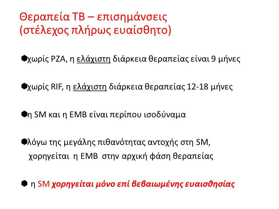 Θεραπεία ΤΒ – επισημάνσεις (στέλεχος πλήρως ευαίσθητο)  χωρίς ΡΖΑ, η ελάχιστη διάρκεια θεραπείας είναι 9 μήνες  χωρίς RIF, η ελάχιστη διάρκεια θεραπείας 12-18 μήνες  η SM και η ΕΜΒ είναι περίπου ισοδύναμα  λόγω της μεγάλης πιθανότητας αντοχής στη SM, χορηγείται η ΕΜΒ στην αρχική φάση θεραπείας  η SM χορηγείται μόνο επί βεβαιωμένης ευαισθησίας