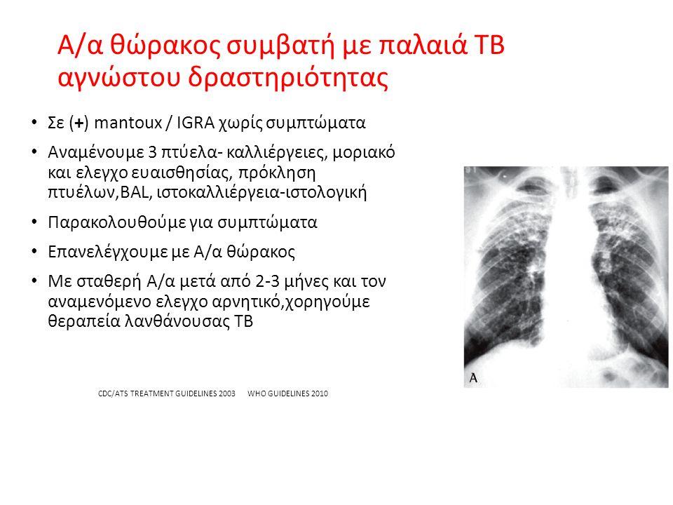 Α/α θώρακος συμβατή με παλαιά TB αγνώστου δραστηριότητας Σε (+) mantoux / IGRA χωρίς συμπτώματα Αναμένουμε 3 πτύελα- καλλιέργειες, μοριακό και ελεγχο ευαισθησίας, πρόκληση πτυέλων,BAL, ιστοκαλλιέργεια-ιστολογική Παρακολουθούμε για συμπτώματα Επανελέγχουμε με Α/α θώρακος Με σταθερή Α/α μετά από 2-3 μήνες και τον αναμενόμενο ελεγχο αρνητικό,χορηγούμε θεραπεία λανθάνουσας TB CDC/ATS TREATMENT GUIDELINES 2003 WHO GUIDELINES 2010