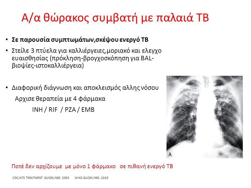 Α/α θώρακος συμβατή με παλαιά TB Σε παρουσία συμπτωμάτων,σκέψου ενεργό TB Στείλε 3 πτύελα για καλλιέργειες,μοριακό και ελεγχο ευαισθησίας (πρόκληση-βρογχοσκόπηση για BAL- βιοψίες-ιστοκαλλιέργεια) Διαφορική διάγνωση και αποκλεισμός αλλης νόσου Αρχισε θεραπεία με 4 φάρμακα INH / RIF / PZA / EMB CDC/ATS TREATMENT GUIDELINES 2003 WHO GUIDELINES 2010 Ποτέ δεν αρχίζουμε με μόνο 1 φάρμακο σε πιθανή ενεργό TB