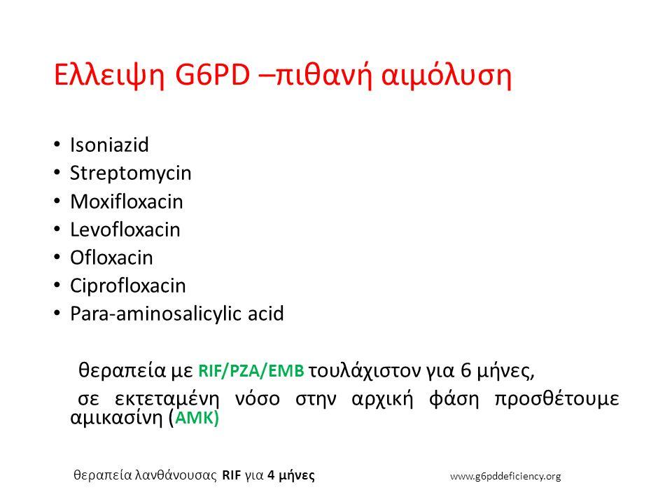 Ελλειψη G6PD –πιθανή αιμόλυση Isoniazid Streptomycin Moxifloxacin Levofloxacin Ofloxacin Ciprofloxacin Para-aminosalicylic acid θεραπεία με RIF/PZA/EM