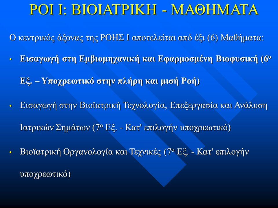 ΡΟΙ Ι: ΒΙΟΙΑΤΡΙΚΗ - ΜΑΘΗΜΑΤΑ Ο κεντρικός άξονας της ΡΟΗΣ Ι αποτελείται από έξι (6) Μαθήματα: Εισαγωγή στη Εμβιομηχανική και Εφαρμοσμένη Βιοφυσική (6 ο Εξ.