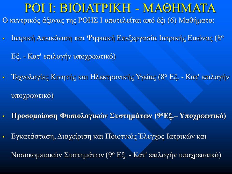 ΡΟΙ Ι: ΒΙΟΙΑΤΡΙΚΗ - ΜΑΘΗΜΑΤΑ Ο κεντρικός άξονας της ΡΟΗΣ Ι αποτελείται από έξι (6) Μαθήματα: Ιατρική Απεικόνιση και Ψηφιακή Επεξεργασία Ιατρικής Εικόνας (8 ο Εξ.