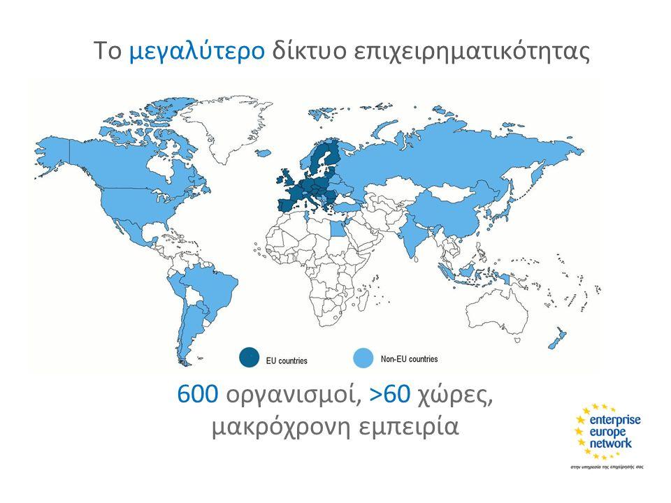 Το μεγαλύτερο δίκτυο επιχειρηματικότητας 600 οργανισμοί, >60 χώρες, μακρόχρονη εμπειρία