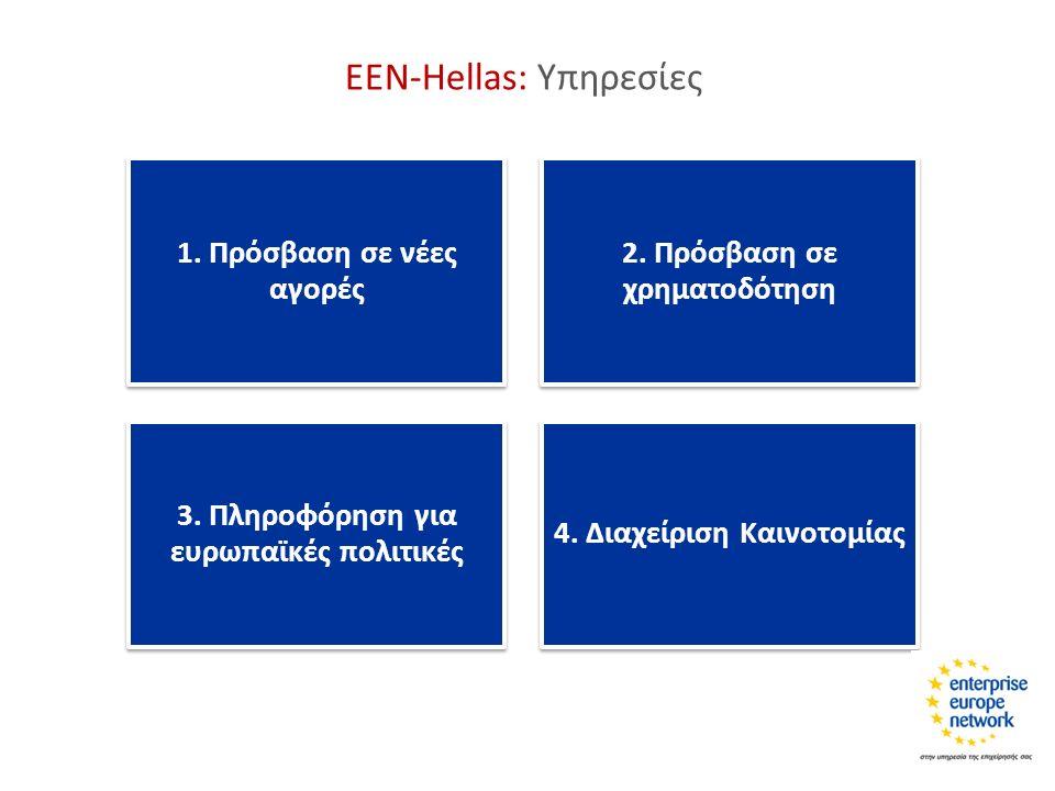 1. Πρόσβαση σε νέες αγορές 2. Πρόσβαση σε χρηματοδότηση 3. Πληροφόρηση για ευρωπαϊκές πολιτικές 4. Διαχείριση Καινοτομίας ΕΕΝ-Hellas: Υπηρεσίες