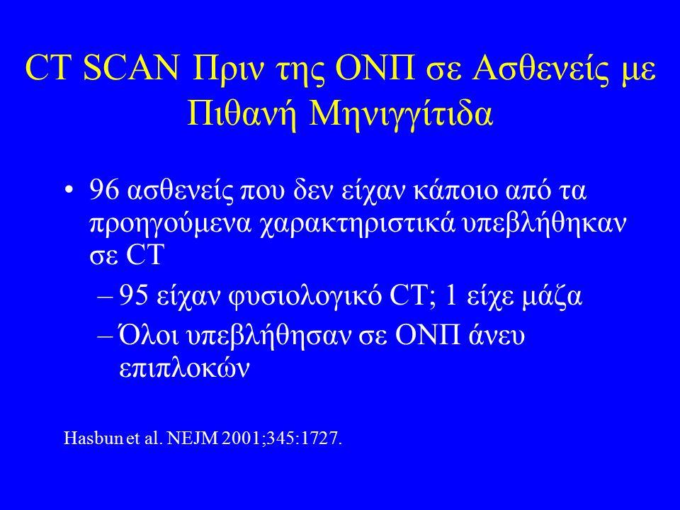 CT SCAN Πριν της ΟΝΠ σε Ασθενείς με Πιθανή Μηνιγγίτιδα 96 ασθενείς που δεν είχαν κάποιο από τα προηγούμενα χαρακτηριστικά υπεβλήθηκαν σε CT –95 είχαν