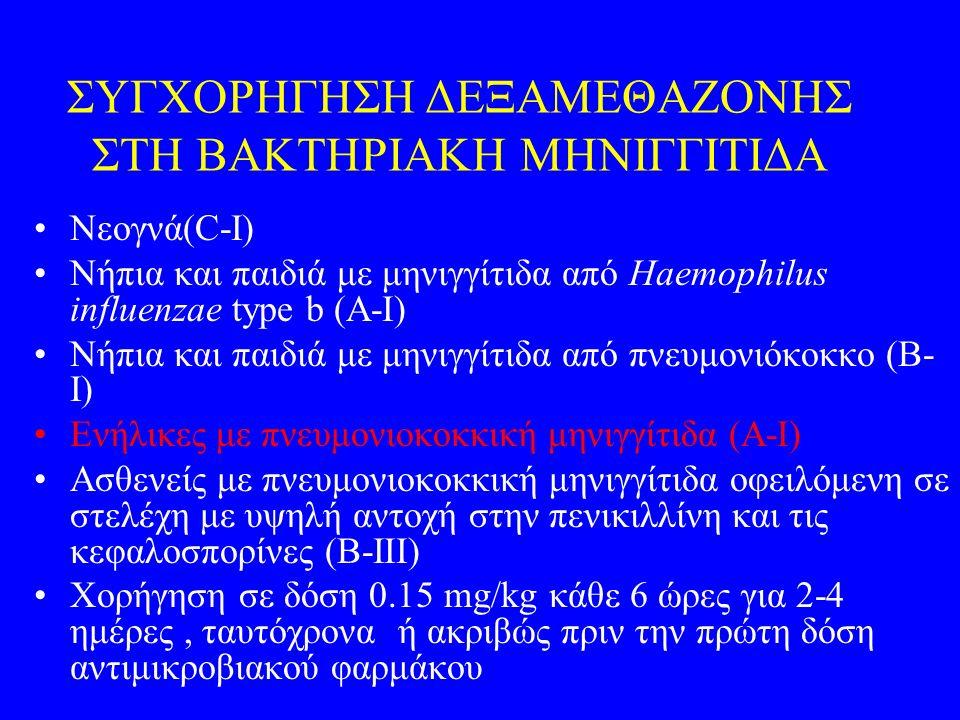 ΣΥΓΧΟΡΗΓΗΣΗ ΔΕΞΑΜΕΘΑΖΟΝΗΣ ΣΤΗ ΒΑΚΤΗΡΙΑΚΗ ΜΗΝΙΓΓΙΤΙΔΑ Νεογνά(C-I) Νήπια και παιδιά με μηνιγγίτιδα από Haemophilus influenzae type b (A-I) Νήπια και παι
