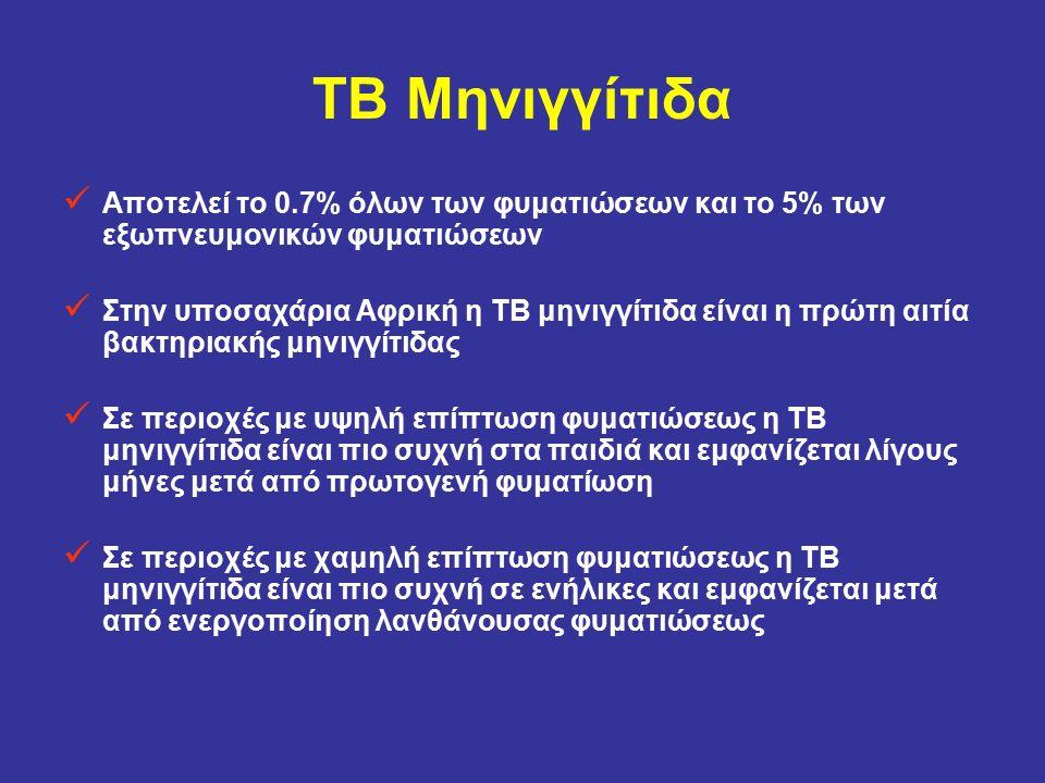 ΤΒ Μηνιγγίτιδα Αποτελεί το 0.7% όλων των φυματιώσεων και το 5% των εξωπνευμονικών φυματιώσεων Στην υποσαχάρια Αφρική η ΤΒ μηνιγγίτιδα είναι η πρώτη αι