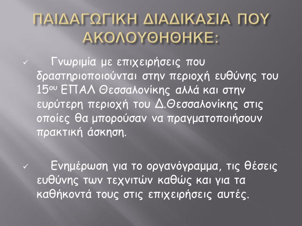 Γνωριμία με επιχειρήσεις που δραστηριοποιούνται στην περιοχή ευθύνης του 15 ου ΕΠΑΛ Θεσσαλονίκης αλλά και στην ευρύτερη περιοχή του Δ.Θεσσαλονίκης στις οποίες θα μπορούσαν να πραγματοποιήσουν πρακτική άσκηση.
