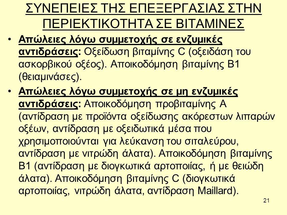21 ΣΥΝΕΠΕΙΕΣ ΤΗΣ ΕΠΕΞΕΡΓΑΣΙΑΣ ΣΤΗΝ ΠΕΡΙΕΚΤΙΚΟΤΗΤΑ ΣΕ ΒΙΤΑΜΙΝΕΣ Απώλειες λόγω συμμετοχής σε ενζυμικές αντιδράσεις: Οξείδωση βιταμίνης C (οξειδάση του ασκορβικού οξέος).