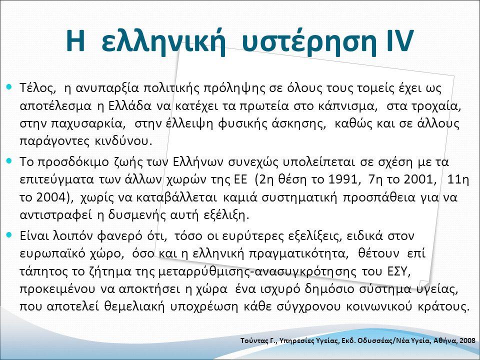 Η ελληνική υστέρηση ΙV Τέλος, η ανυπαρξία πολιτικής πρόληψης σε όλους τους τομείς έχει ως αποτέλεσμα η Ελλάδα να κατέχει τα πρωτεία στο κάπνισμα, στα τροχαία, στην παχυσαρκία, στην έλλειψη φυσικής άσκησης, καθώς και σε άλλους παράγοντες κινδύνου.
