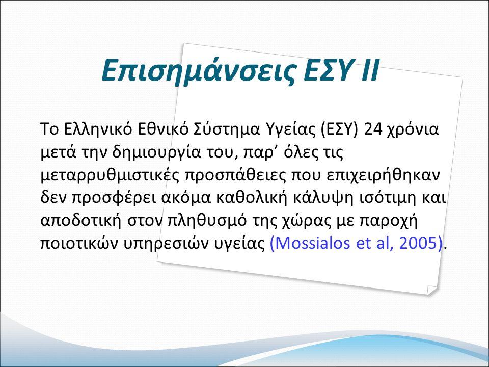 Επισημάνσεις ΕΣΥ ΙΙ Το Ελληνικό Εθνικό Σύστημα Υγείας (ΕΣΥ) 24 χρόνια μετά την δημιουργία του, παρ' όλες τις μεταρρυθμιστικές προσπάθειες που επιχειρήθηκαν δεν προσφέρει ακόμα καθολική κάλυψη ισότιμη και αποδοτική στον πληθυσμό της χώρας με παροχή ποιοτικών υπηρεσιών υγείας (Mossialos et al, 2005).