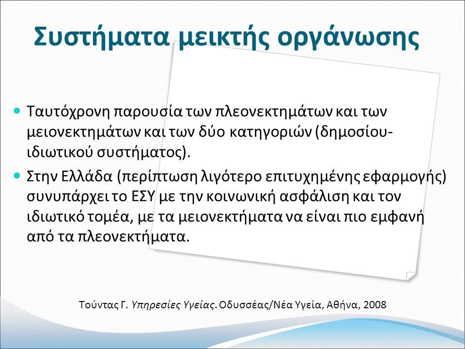 Συστήματα μεικτής οργάνωσης Ταυτόχρονη παρουσία των πλεονεκτημάτων και των μειονεκτημάτων και των δύο κατηγοριών (δημοσίου- ιδιωτικού συστήματος).