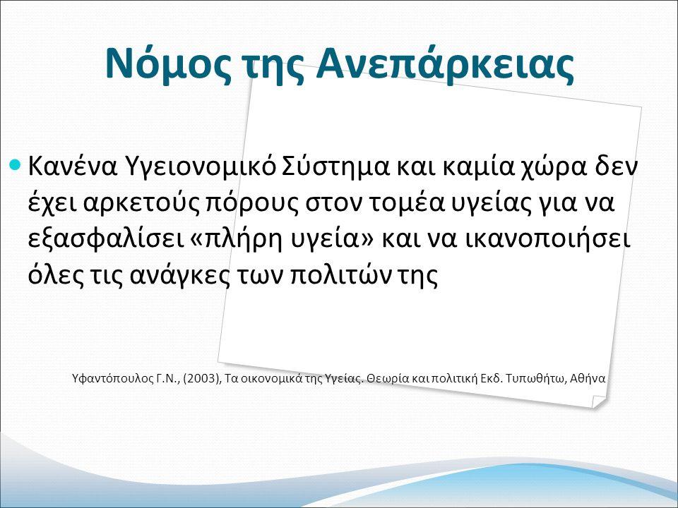 Νόμος της Ανεπάρκειας Κανένα Υγειονομικό Σύστημα και καμία χώρα δεν έχει αρκετούς πόρους στον τομέα υγείας για να εξασφαλίσει «πλήρη υγεία» και να ικανοποιήσει όλες τις ανάγκες των πολιτών της Υφαντόπουλος Γ.Ν., (2003), Τα οικονομικά της Υγείας.