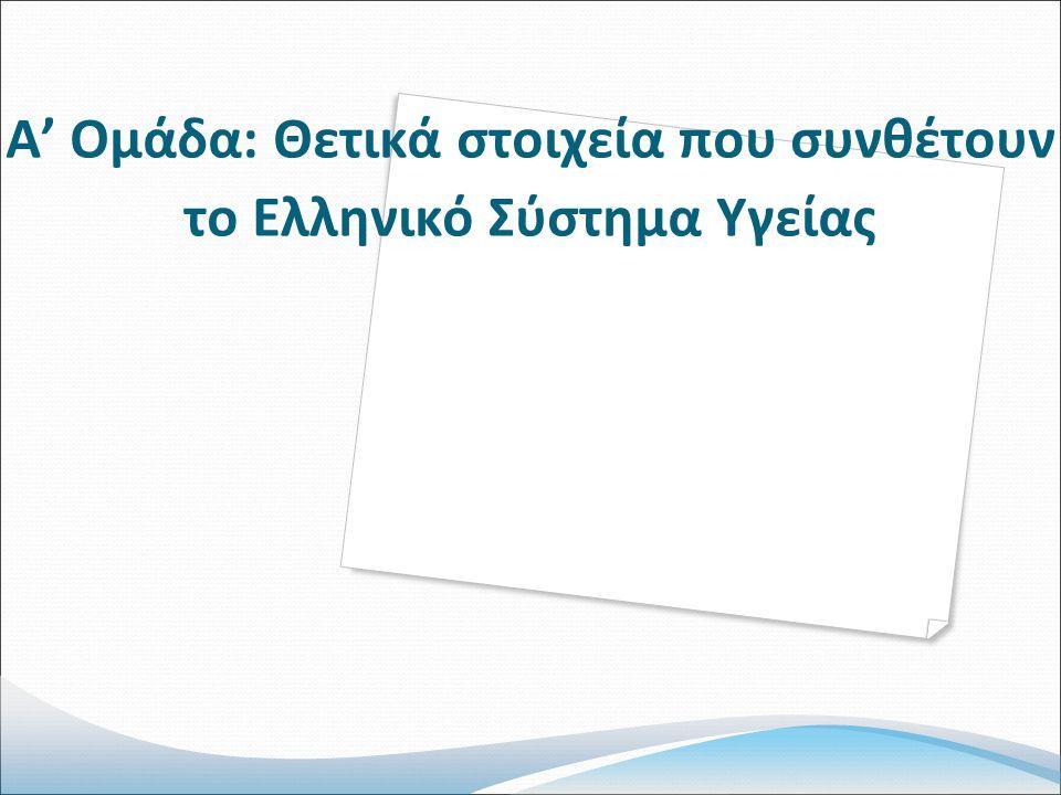 Α' Ομάδα: Θετικά στοιχεία που συνθέτουν το Ελληνικό Σύστημα Υγείας