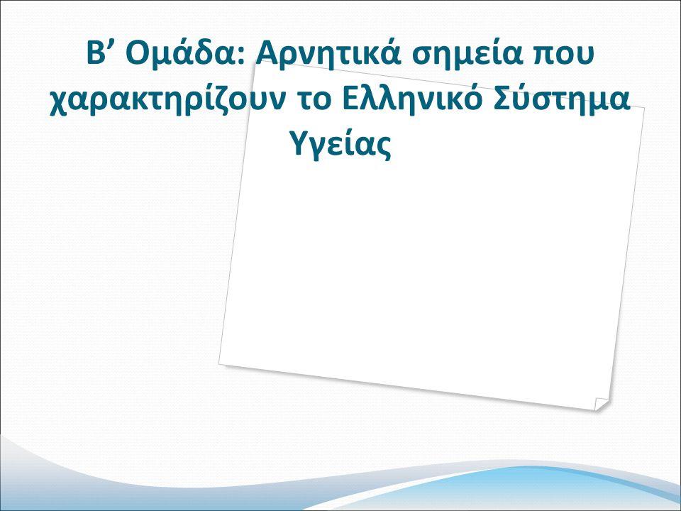 Β' Ομάδα: Αρνητικά σημεία που χαρακτηρίζουν το Ελληνικό Σύστημα Υγείας