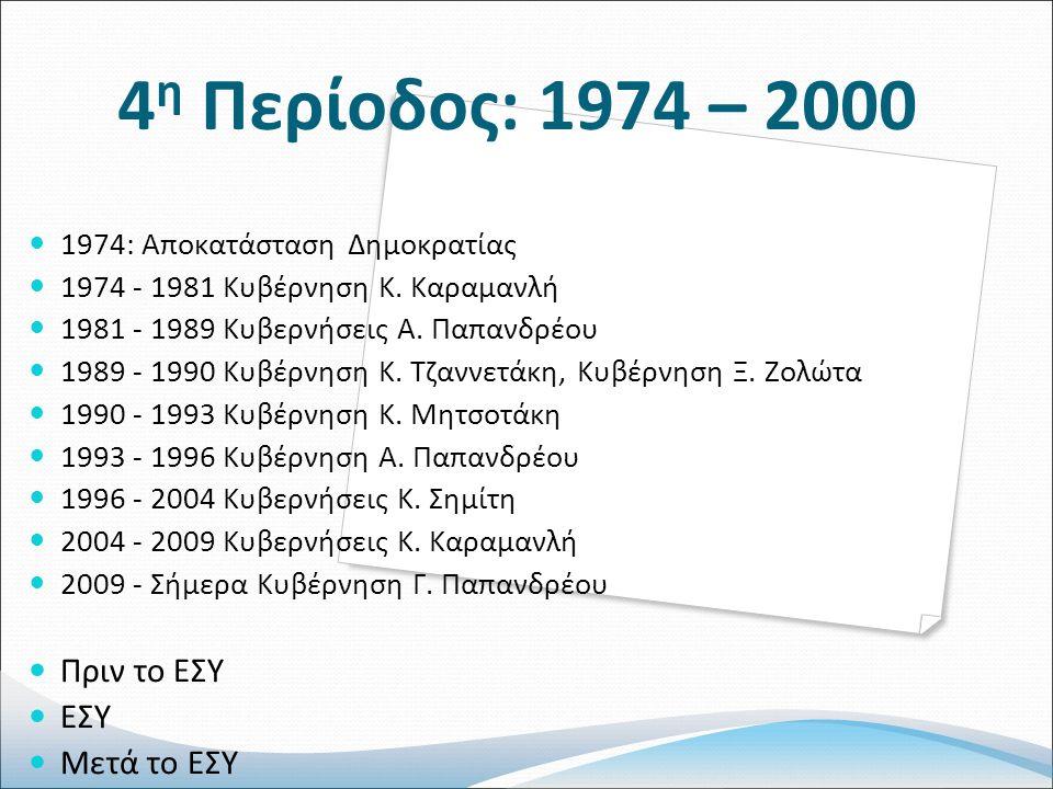 4 η Περίοδος: 1974 – 2000 1974: Αποκατάσταση Δημοκρατίας 1974 - 1981 Κυβέρνηση Κ.