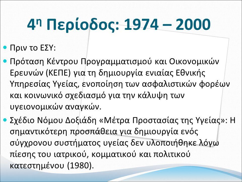 4 η Περίοδος: 1974 – 2000 Πριν το ΕΣΥ: Πρόταση Κέντρου Προγραμματισμού και Οικονομικών Ερευνών (ΚΕΠΕ) για τη δημιουργία ενιαίας Εθνικής Υπηρεσίας Υγείας, ενοποίηση των ασφαλιστικών φορέων και κοινωνικό σχεδιασμό για την κάλυψη των υγειονομικών αναγκών.