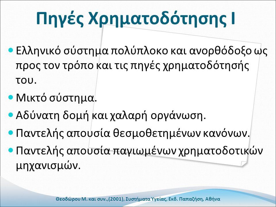 Πηγές Χρηματοδότησης Ι Ελληνικό σύστημα πολύπλοκο και ανορθόδοξο ως προς τον τρόπο και τις πηγές χρηματοδότησής του.