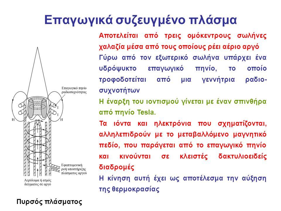 Επαγωγικά συζευγμένο πλάσμα Πυρσός πλάσματος Αποτελείται από τρεις ομόκεντρους σωλήνες χαλαζία μέσα από τους οποίους ρέει αέριο αργό Γύρω από τον εξωτερικό σωλήνα υπάρχει ένα υδρόψυκτο επαγωγικό πηνίο, το οποίο τροφοδοτείται από μια γεννήτρια ραδιο συχνοτήτων Η έναρξη του ιοντισμού γίνεται με έναν σπινθήρα από πηνίο Tesla.