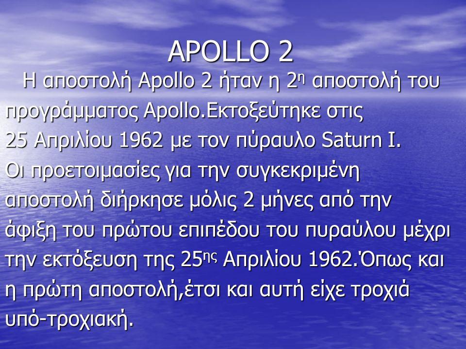 ΑPOLLO 2 Η αποστολή Apollo 2 ήταν η 2 η αποστολή του προγράμματος Apollo.Εκτοξεύτηκε στις 25 Απριλίου 1962 με τον πύραυλο Saturn I.