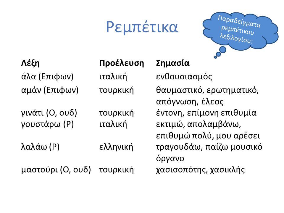 Ρεμπέτικα ΛέξηΠροέλευσηΣημασία άλα (Επιφων)ιταλικήενθουσιασμός αμάν (Επιφων)τουρκικήθαυμαστικό, ερωτηματικό, απόγνωση, έλεος γινάτι (Ο, ουδ)τουρκικήέν