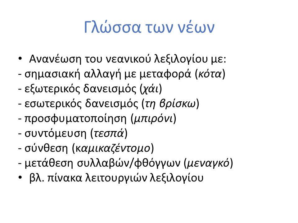 Γλώσσα των νέων Ανανέωση του νεανικού λεξιλογίου με: - σημασιακή αλλαγή με μεταφορά (κότα) - εξωτερικός δανεισμός (χάι) - εσωτερικός δανεισμός (τη βρί