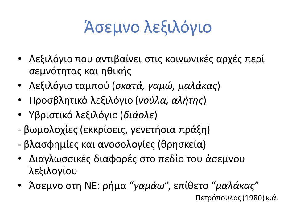Άσεμνο λεξιλόγιο Λεξιλόγιο που αντιβαίνει στις κοινωνικές αρχές περί σεμνότητας και ηθικής Λεξιλόγιο ταμπού (σκατά, γαμώ, μαλάκας) Προσβλητικό λεξιλόγ