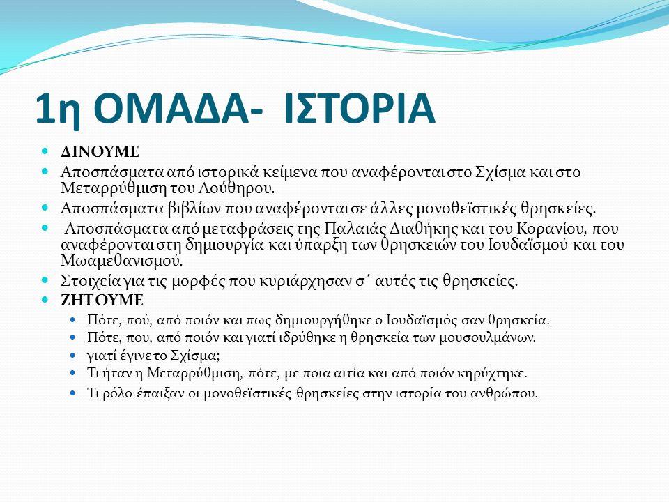 2η ΟΜΑΔΑ- ΓΕΩΓΡΑΦΙΑ ΔΙΝΟΥΜΕ Χάρτη της Ελλάδας Παγκόσμιο χάρτη Εγκυκλοπαιδικά στοιχεία για τη διάδοση και την εξάπλωση των θρησκειών στις διάφορες χώρες ΖΗΤΟΥΜΕ Να εντοπιστούν στο χάρτη της Ελλάδας περιοχές με έντονη παρουσία μη ορθόδοξων χριστιανικών δογμάτων και θρησκειών.