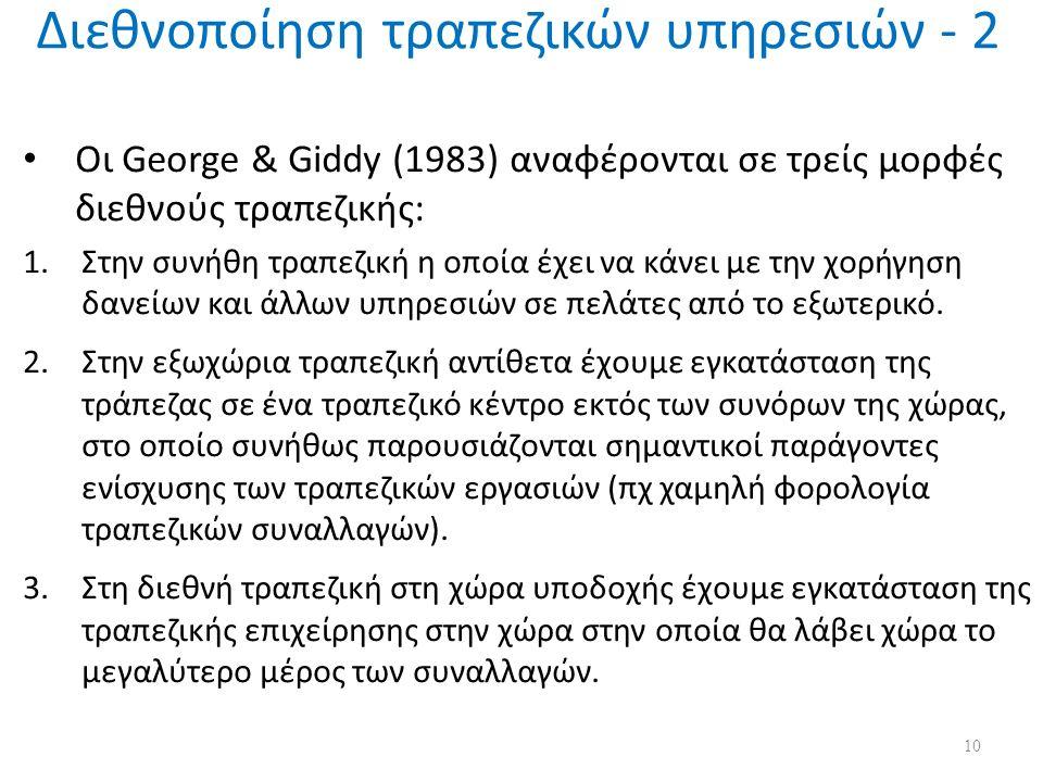 Διεθνοποίηση τραπεζικών υπηρεσιών - 2 Οι George & Giddy (1983) αναφέρονται σε τρείς μορφές διεθνούς τραπεζικής: 1.Στην συνήθη τραπεζική η οποία έχει να κάνει με την χορήγηση δανείων και άλλων υπηρεσιών σε πελάτες από το εξωτερικό.