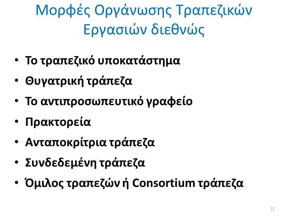 Μορφές Οργάνωσης Τραπεζικών Εργασιών διεθνώς Το τραπεζικό υποκατάστημα Θυγατρική τράπεζα Το αντιπροσωπευτικό γραφείο Πρακτορεία Ανταποκρίτρια τράπεζα Συνδεδεμένη τράπεζα Όμιλος τραπεζών ή Consortium τράπεζα 11