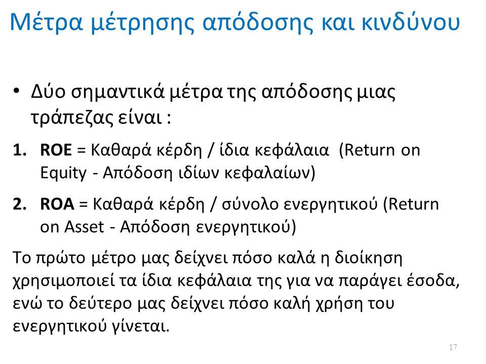 Μέτρα μέτρησης απόδοσης και κινδύνου Δύο σημαντικά μέτρα της απόδοσης μιας τράπεζας είναι : 1.ROE = Καθαρά κέρδη / ίδια κεφάλαια (Return on Equity - Απόδοση ιδίων κεφαλαίων) 2.ROA = Καθαρά κέρδη / σύνολο ενεργητικού (Return on Asset - Απόδοση ενεργητικού) Το πρώτο μέτρο μας δείχνει πόσο καλά η διοίκηση χρησιμοποιεί τα ίδια κεφάλαια της για να παράγει έσοδα, ενώ το δεύτερο μας δείχνει πόσο καλή χρήση του ενεργητικού γίνεται.