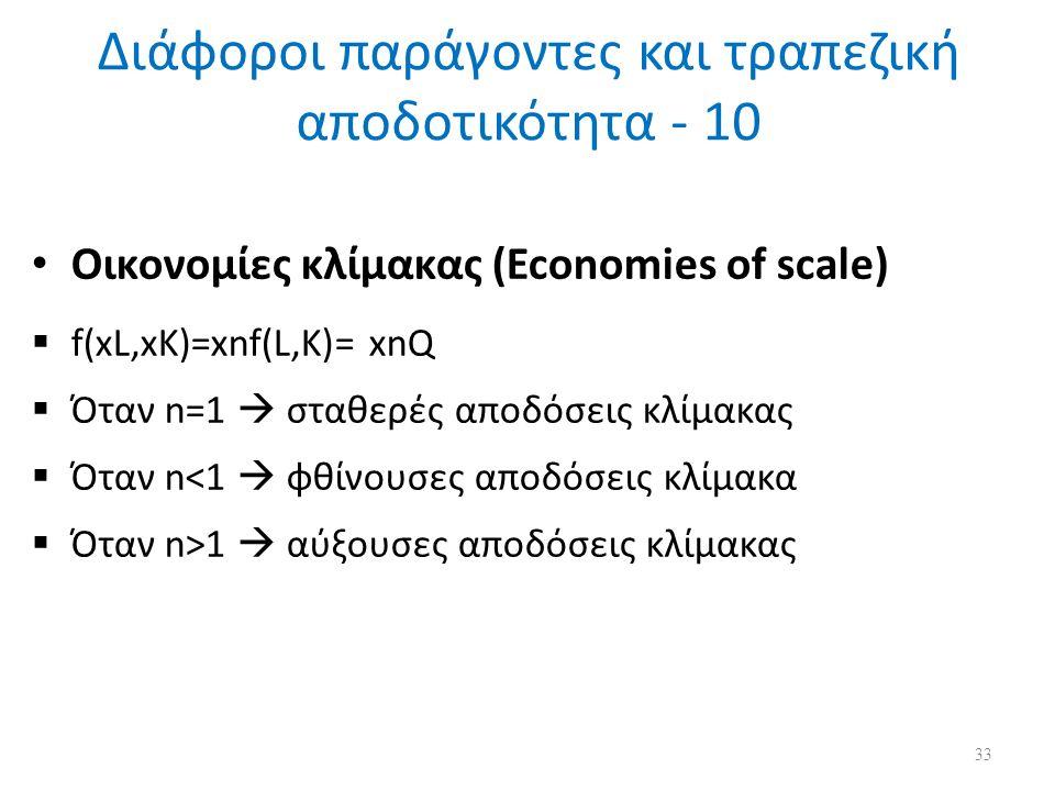 Διάφοροι παράγοντες και τραπεζική αποδοτικότητα - 10 Οικονομίες κλίμακας (Economies of scale)  f(xL,xK)=xnf(L,K)= xnQ  Όταν n=1  σταθερές αποδόσεις κλίμακας  Όταν n<1  φθίνουσες αποδόσεις κλίμακα  Όταν n>1  αύξουσες αποδόσεις κλίμακας 33