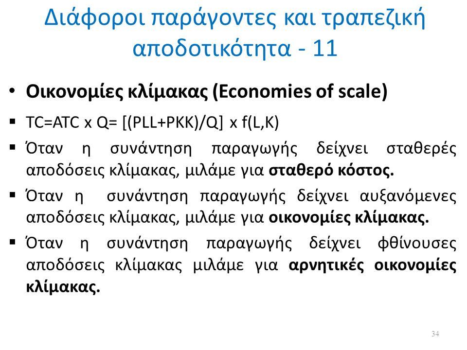 Διάφοροι παράγοντες και τραπεζική αποδοτικότητα - 11 Οικονομίες κλίμακας (Economies of scale)  TC=ATC x Q= [(PLL+PKK)/Q] x f(L,K)  Όταν η συνάντηση παραγωγής δείχνει σταθερές αποδόσεις κλίμακας, μιλάμε για σταθερό κόστος.