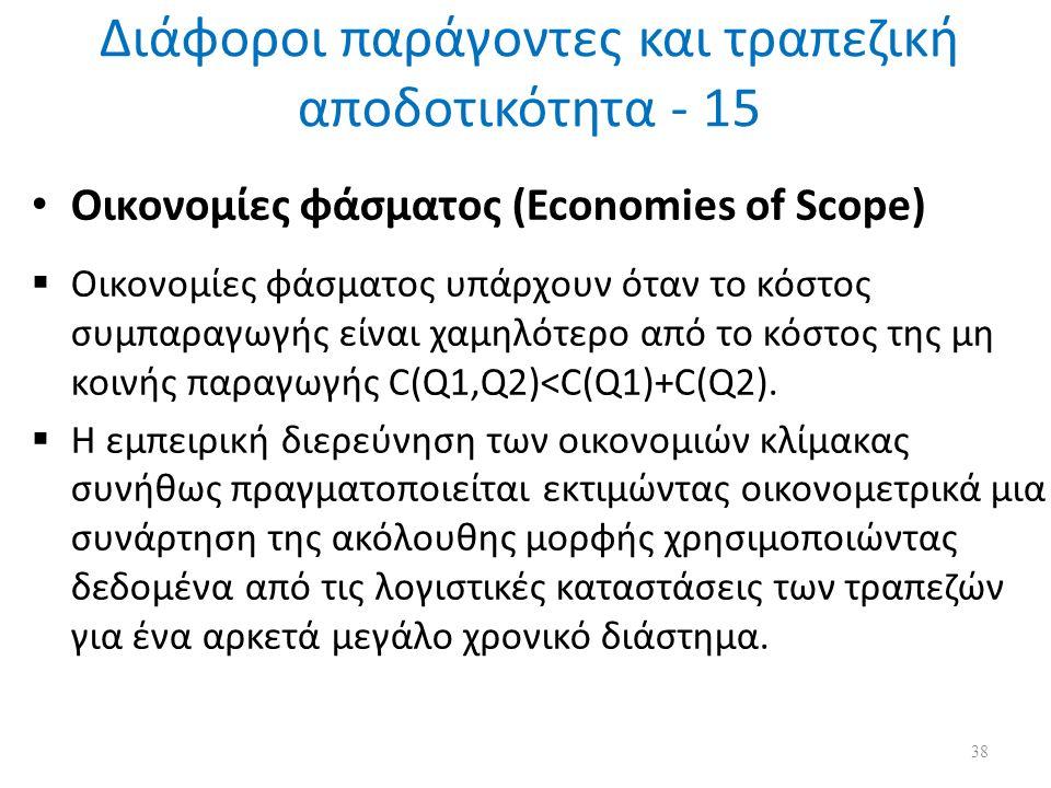 Διάφοροι παράγοντες και τραπεζική αποδοτικότητα - 15 Οικονομίες φάσματος (Economies of Scope)  Οικονομίες φάσματος υπάρχουν όταν το κόστος συμπαραγωγής είναι χαμηλότερο από το κόστος της μη κοινής παραγωγής C(Q1,Q2)<C(Q1)+C(Q2).