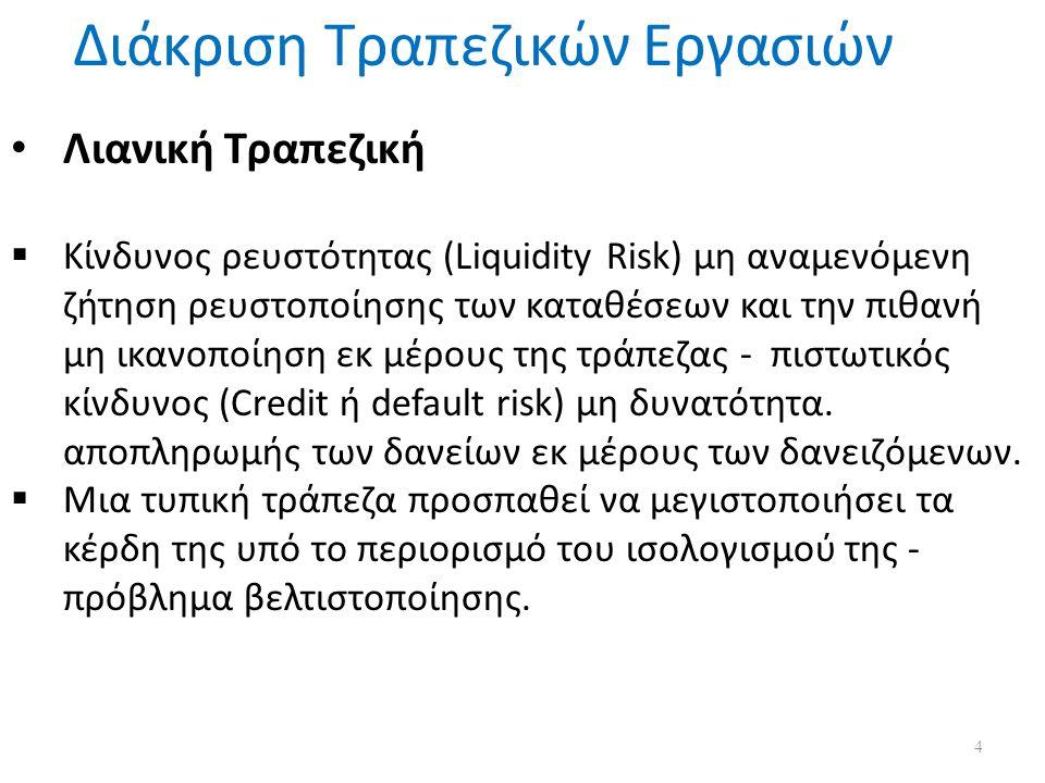 Διάκριση Τραπεζικών Εργασιών Λιανική Τραπεζική  Κίνδυνος ρευστότητας (Liquidity Risk) μη αναμενόμενη ζήτηση ρευστοποίησης των καταθέσεων και την πιθανή μη ικανοποίηση εκ μέρους της τράπεζας - πιστωτικός κίνδυνος (Credit ή default risk) μη δυνατότητα.