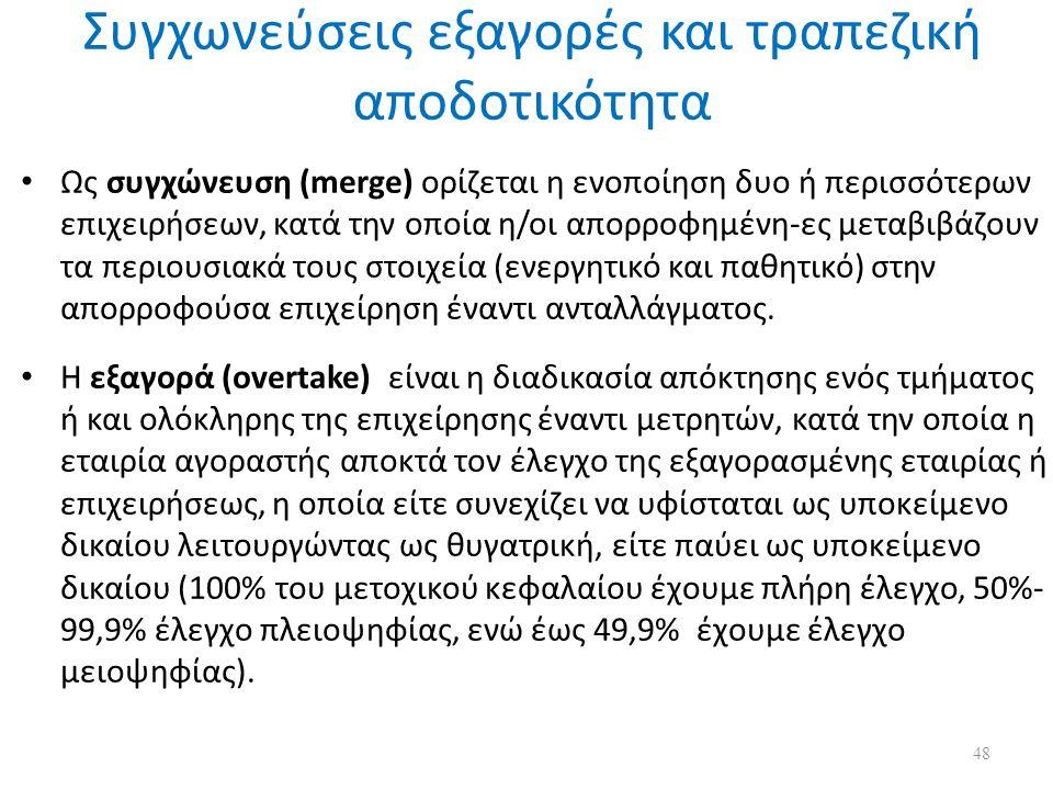 Συγχωνεύσεις εξαγορές και τραπεζική αποδοτικότητα Ως συγχώνευση (merge) ορίζεται η ενοποίηση δυο ή περισσότερων επιχειρήσεων, κατά την οποία η/οι απορροφημένη-ες μεταβιβάζουν τα περιουσιακά τους στοιχεία (ενεργητικό και παθητικό) στην απορροφούσα επιχείρηση έναντι ανταλλάγματος.