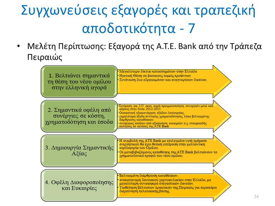 Συγχωνεύσεις εξαγορές και τραπεζική αποδοτικότητα - 7 Μελέτη Περίπτωσης: Εξαγορά της Α.Τ.Ε.