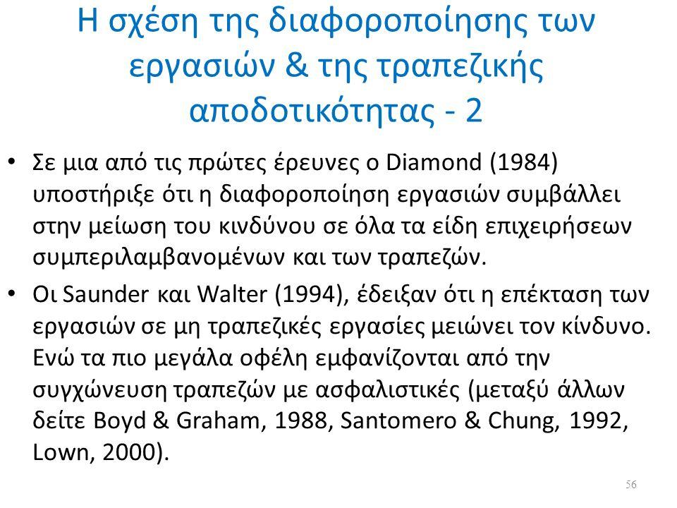 Η σχέση της διαφοροποίησης των εργασιών & της τραπεζικής αποδοτικότητας - 2 Σε μια από τις πρώτες έρευνες ο Diamond (1984) υποστήριξε ότι η διαφοροποίηση εργασιών συμβάλλει στην μείωση του κινδύνου σε όλα τα είδη επιχειρήσεων συμπεριλαμβανομένων και των τραπεζών.