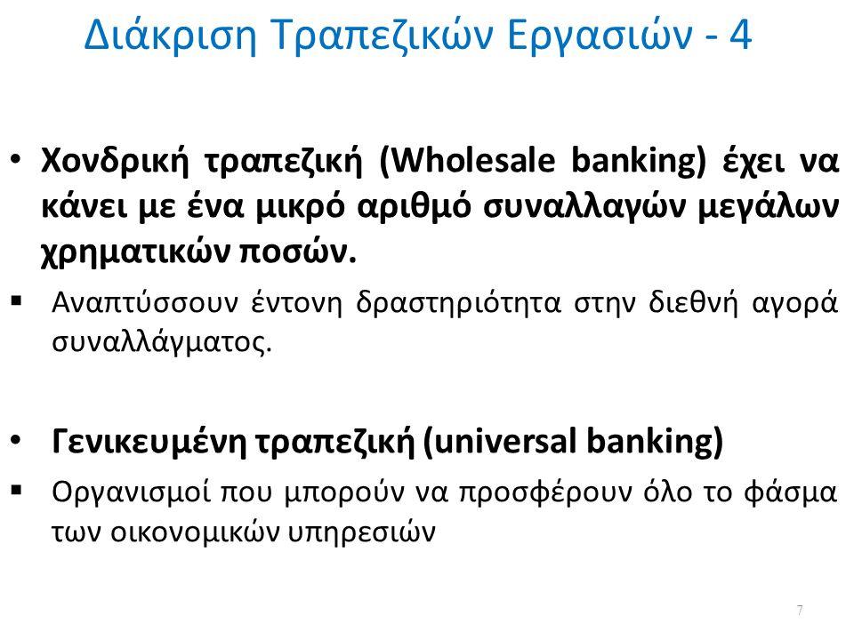 Διάκριση Τραπεζικών Εργασιών - 4 7 Χονδρική τραπεζική (Wholesale banking) έχει να κάνει με ένα μικρό αριθμό συναλλαγών μεγάλων χρηματικών ποσών.