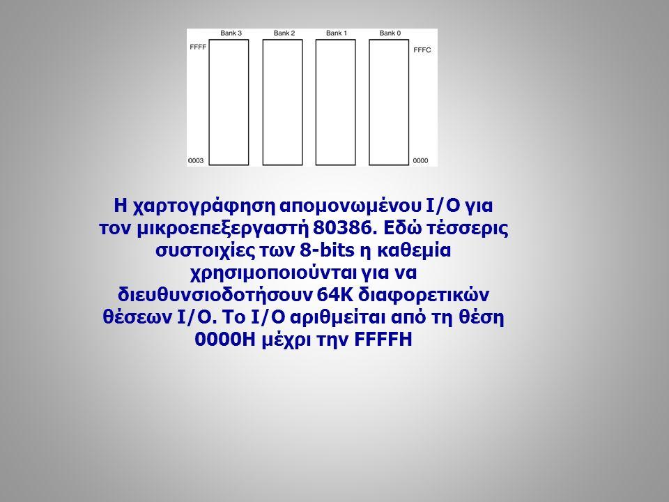 Η χαρτογράφηση απομονωμένου Ι/Ο για τον μικροεπεξεργαστή 80386. Εδώ τέσσερις συστοιχίες των 8-bits η καθεμία χρησιμοποιούνται για να διευθυνσιοδοτήσου