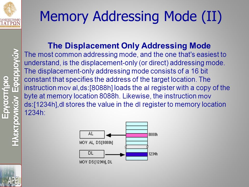 Memory Addressing Mode (ΙΙ) The Displacement Only Addressing Mode The most common addressing mode, and the one that s easiest to understand, is the displacement-only (or direct) addressing mode.