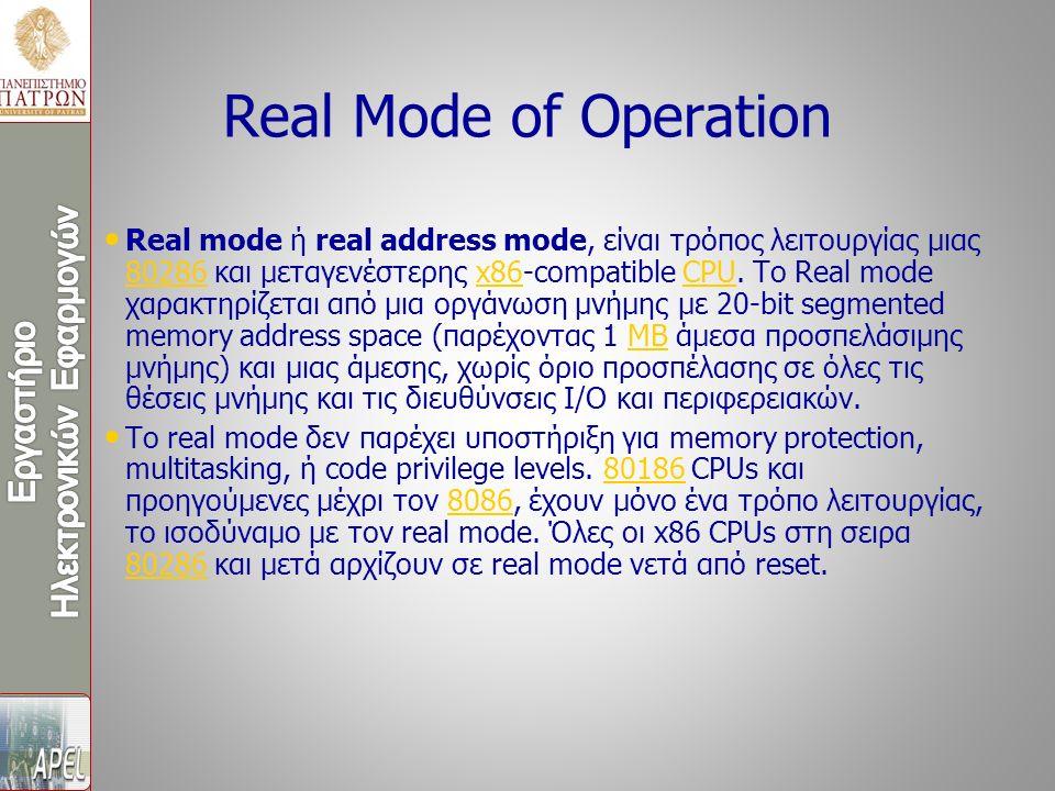 Real mode ή real address mode, είναι τρόπος λειτουργίας μιας 80286 και μεταγενέστερης x86-compatible CPU. Το Real mode χαρακτηρίζεται από μια οργάνωση
