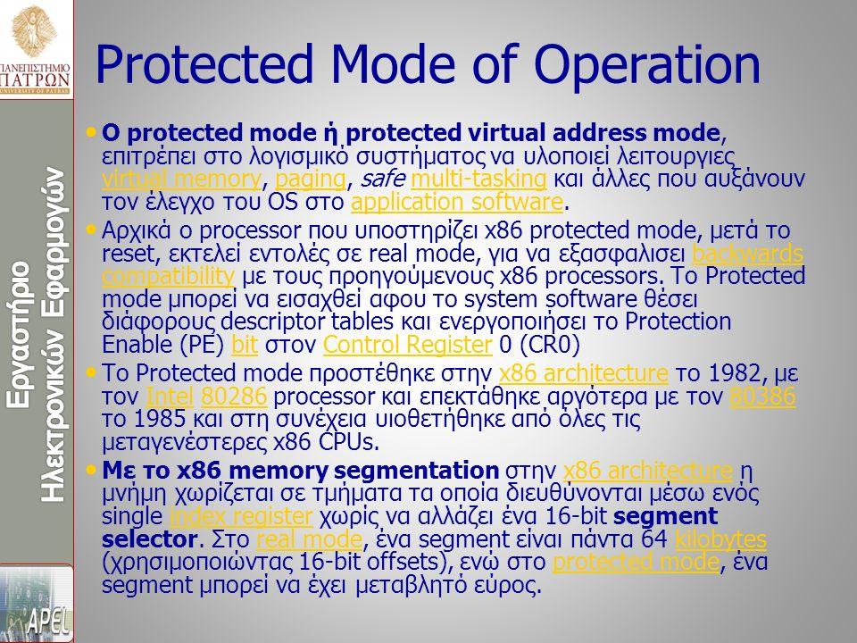 O protected mode ή protected virtual address mode, επιτρέπει στο λογισμικό συστήματος να υλοποιεί λειτουργιες virtual memory, paging, safe multi-taski