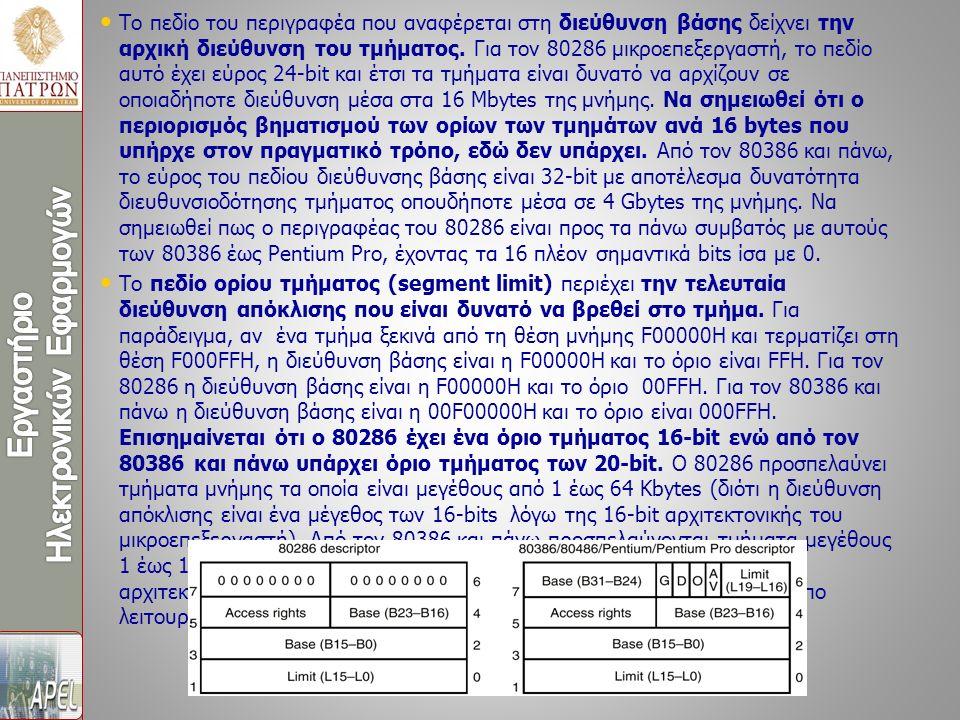 Το πεδίο του περιγραφέα που αναφέρεται στη διεύθυνση βάσης δείχνει την αρχική διεύθυνση του τμήματος. Για τον 80286 μικροεπεξεργαστή, το πεδίο αυτό έχ