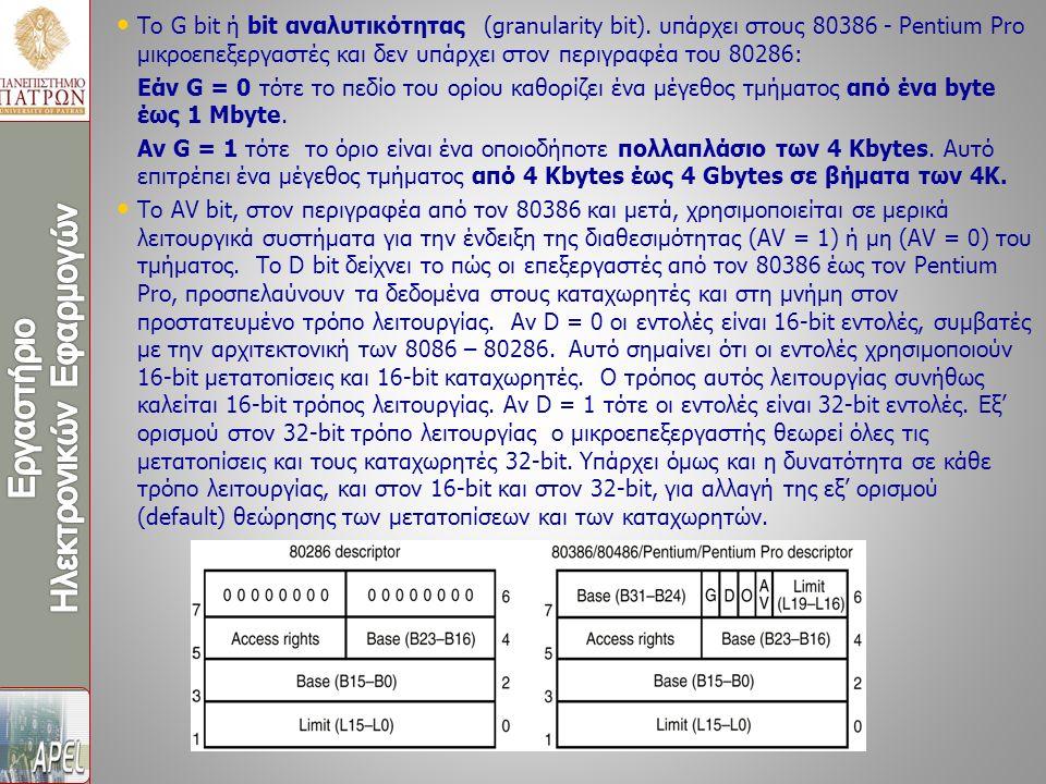 Το G bit ή bit αναλυτικότητας (granularity bit). υπάρχει στους 80386 - Pentium Pro μικροεπεξεργαστές και δεν υπάρχει στον περιγραφέα του 80286: Εάν G