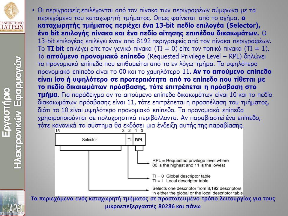 Τα περιεχόμενα ενός καταχωρητή τμήματος σε προστατευμένο τρόπο λειτουργίας για τους μικροεπεξεργαστές 80286 και πάνω Οι περιγραφείς επιλέγονται από το